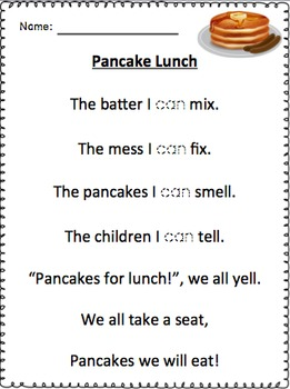 Pancake Writing and Reading Fun Kindergarten First Grade
