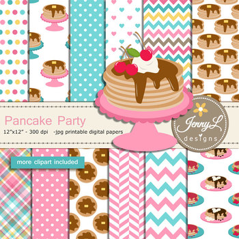 Pancake digital paper and clipart SET