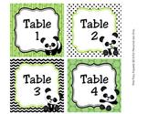 Panda Bear Animal Table Numbers