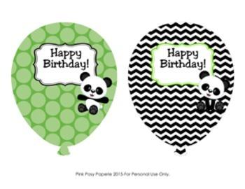 Panda Bear Birthday Balloons (4 different designs)