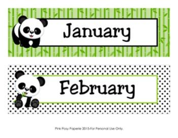 Panda Bear Classroom Decor Monthly Calendar Headers