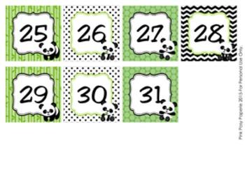Panda Bear Classroom Decor Monthly Calendar Numbers