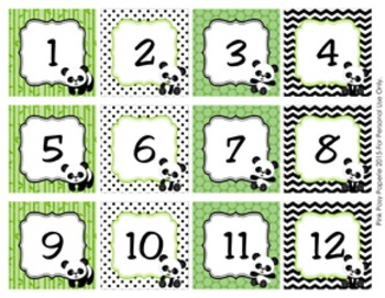 Panda Bear Classroom Decor Monthly Calendar Numbers