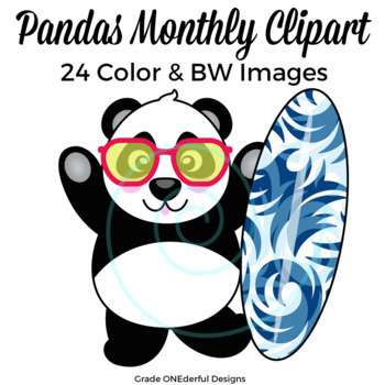 Panda Bear Clipart for All Seasons: Includes BW