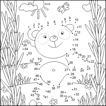 Connect the Dots and Coloring Page with Panda Bear, Commercial Use Allowed