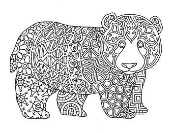 Panda Bear Cub Zentangle Coloring Page
