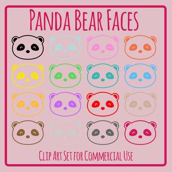 Panda Bear Faces Rainbow Colors Clip Art Set for Commercial Use