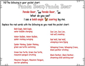 Panda Bear, Panda Bear, What do you see?  (Pocket Chart Activity)