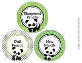 Panda Bear Pencil Caddy Labels