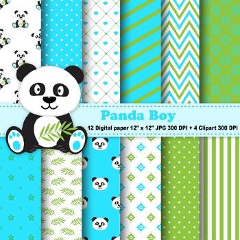 Panda Boy Digital Paper & Clipart