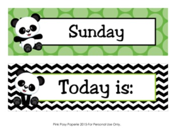 Panda Calendar Set - Months - Days - Numbers