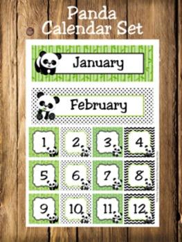 Panda Calendar Set - Months - Days - Numbers