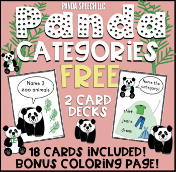 Panda Category Cards FREEBIE : Speech Therapy