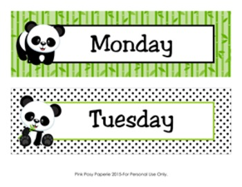 Panda Classroom Decor Days of the Week Calendar Headers