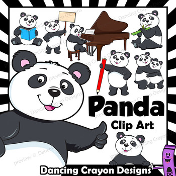Panda Clip Art with signs