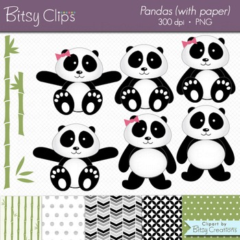 Panda Clipart with Digital Scrapbook Paper Digital Art Set
