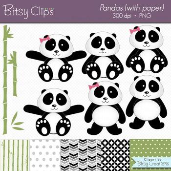 Panda Clipart with Digital Scrapbook Paper Digital Art Set