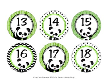 Panda Cubby Number Labels 1-30