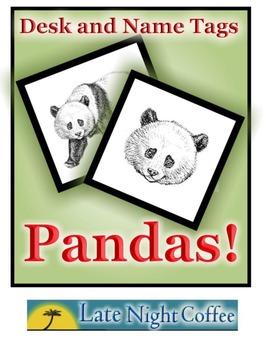 Panda Desk Tags and Name Tags