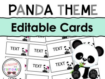 Panda Editable Cards