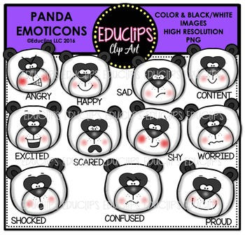 Panda Emoticons Clip Art Bundle  {Educlips Clipart}