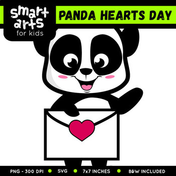 Panda Hearts Day Clip Art