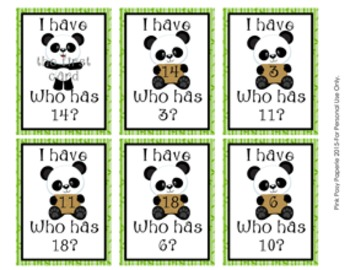 Panda I Have, Who Has? Number Recognition Game 1-20