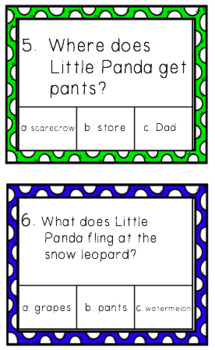 Panda Pants Reading Comprehension Task Cards