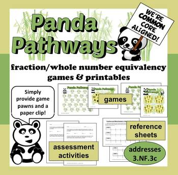 Panda Pathways - fraction & whole number equivalence games and printables set