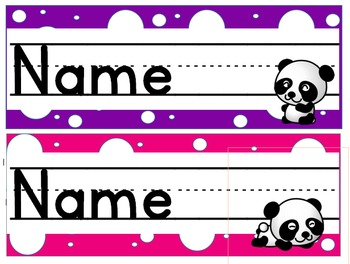 Panda Polka Dot Desk Name Plates