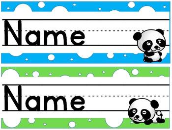 Panda Polka Dot Desk Name Plates