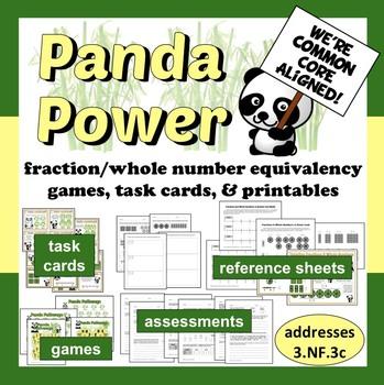 Panda Power - fraction/whole number equivalence resource bundle
