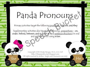Panda Pronouns - Speech and Language Activities with a Panda Theme