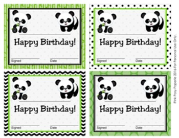 Panda Theme Birthday Certificates
