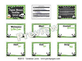 Panda Theme Open House ~ Back-to-School ~ PowerPoint Template {personalize it}