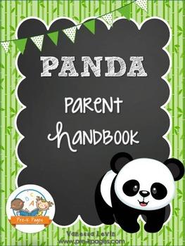 Panda Theme Parent Handbook Back-to-School {personalize it}