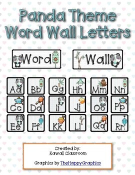 Panda Theme Word Wall Letters