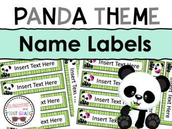 Panda Themed Editable Name Labels