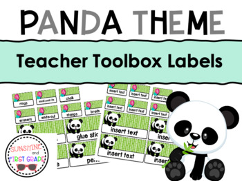 Panda Themed Editable Teacher Toolbox Labels