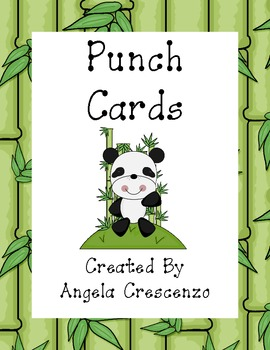 Panda Themed Punch Cards