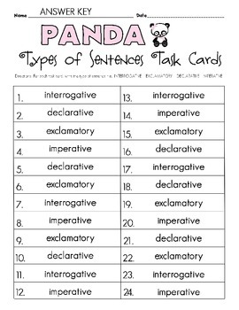 Panda Types of Sentences Task Cards