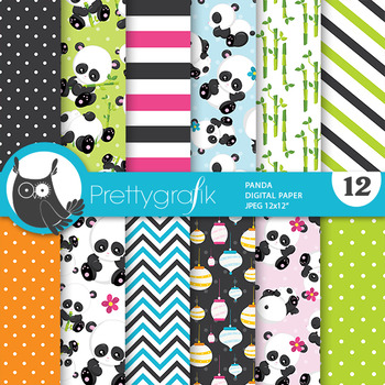 Panda bear papers, commercial use, scrapbook papers - PS790