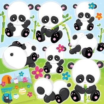 Panda clipart commercial use, vector graphics, digital - CL960