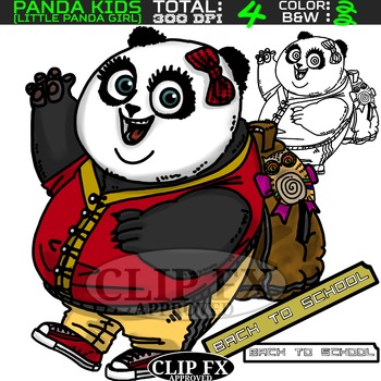 Panda Girl Clipart
