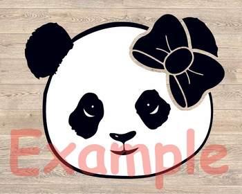 Panda whit Bandana Design svg animal cute panda bow 959S