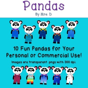 Pandas Clip Art - Commercial Okay