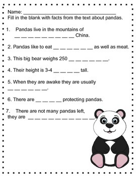 Pandas: Informational Text and Comprehension Questions