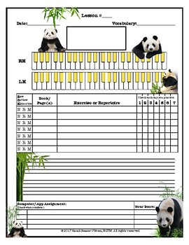 Pandas Themed Piano Lessons Assignment Sheet *ASIA* *BAMBOO*