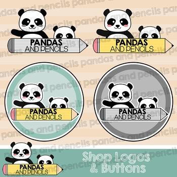 Pandas and Pencils Shop Logos and Buttons