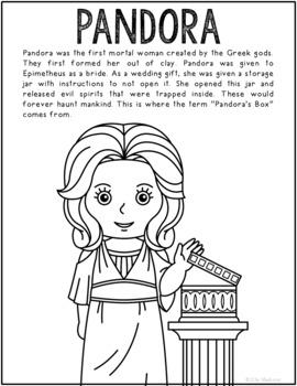 Pandora, Greek Mythology Informational Text Coloring Page Craft or Poster